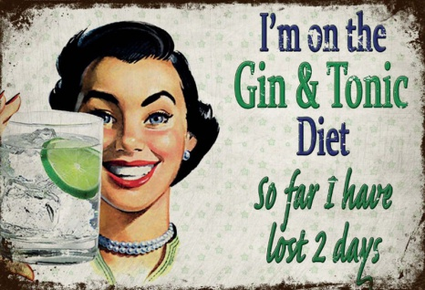 Im on the Gin & Tonic Diet! Lustig spruche blechschild