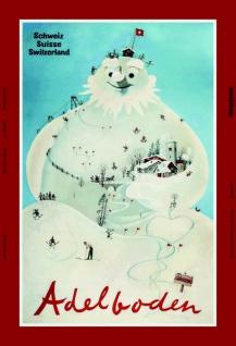 Adelboden schneemann schweiz ski blechschild