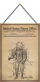 Blechschild Patent Entwurf Raumfahrt - Schutzanzug Metallschild 20 x 30 m.Kordel