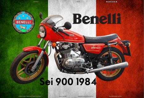 Benelli Sei 900 1984 Italien motorrad blechschild