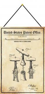 Blechschild Patent Entwurf für einen Korkenzieher Metallschild 20 x 30 m.Kordel