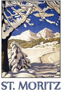 St Moritz Schnee Urlaub ski blechschild