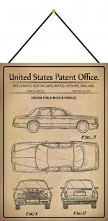 Blechschild Patent Entwurf für Kraftfahrzeug Limousine 1 Deko 20 x 30 m.Kordel
