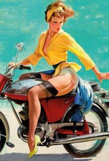 Pinup / pin up sexy frau auf ein motorrad motorbike erotik blechschild