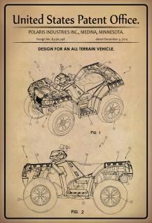 Blechschild Patent Entwurf für Geländewagen Polaris Metallschild Wanddeko 20x30 cm tin sign