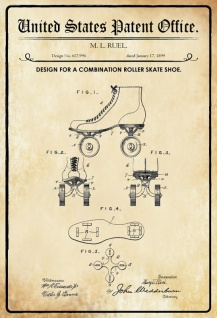 US Patent Office - Design for a Combination Roller Skate Shoe - Entwurf für einen Roller Skate - Ruel - Design No 617996 - 1899 - Blechschild