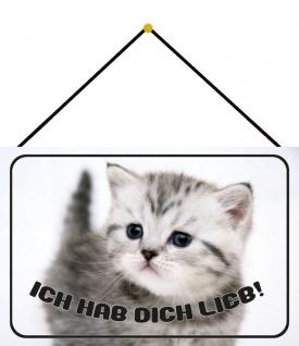 Blechschild Katze Spruch Ich hab dich lieb Süß Metallschild Deko 20x30 m. Kordel