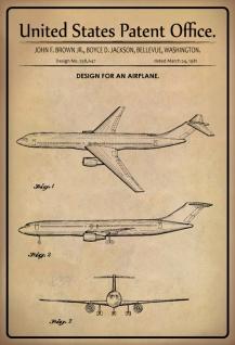 Blechschild Patent Entwurf Flugzeug Brown/Boyce Metallschild Wanddeko 20x30 cm tin sign