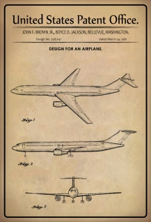 US Patent Office - Design for an Airplane- Entwurf für ein Flugzeug - Brown/Boyce/Jackson Washington 1981 - Design No 258.647 - Blechschild