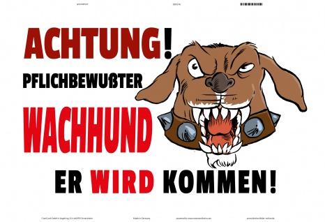 Achtung Pflichtbeweßter Wachhund! Blechschild lustig comic