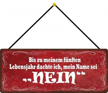 Schatzmix Blechschild dachte mein Name sei NEIN Metallschild 27x10 cm Wanddeko mit Kordel
