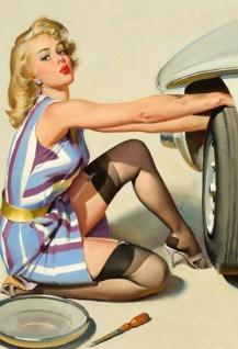 Nostalgie Pin up sexy Frau beim Autoreifenwechsel Blechschild 20x30cm