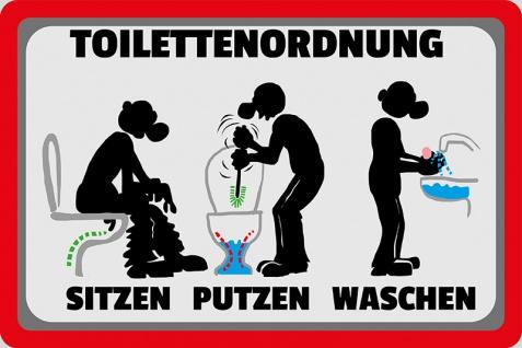 Toilettenordnung - sitzen putzen waschen klo-ordnung, toilette spruchschild, lustig, blechschild, comic