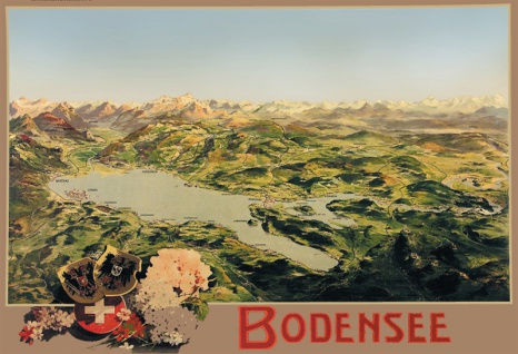 Bodensee Deutschland Österreich Schweiz karte blechschild - Vorschau