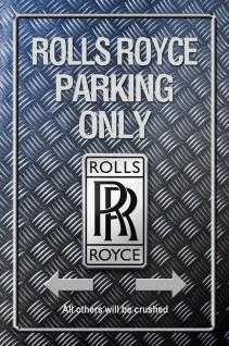 Rolls Royce Parking only Metallic blechschild