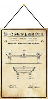 Blechschild Patent Entwurf für einen Billardtische Metallschild 20 x 30 m.Kordel