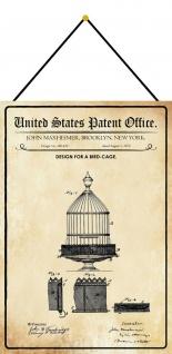 Blechschild Patent Entwurf für einen Vogelkäfig Metallschild 20 x 30 m.Kordel