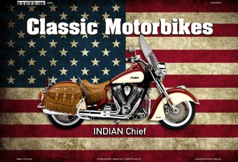 Indian Chief USA Classic Motorrad Blechschild - Vorschau