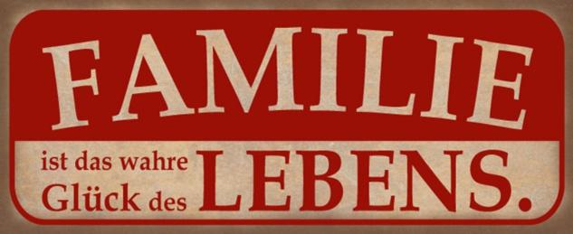 Blechschild Spruch Familie Glück Leben Metallschild 27x10 cm Wanddeko tin sign