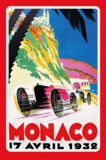 Monaco grand prix 1932 grosser preis autorennen reklame blechschild