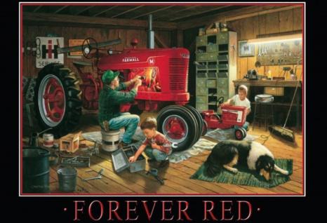 Forever Red Forever Red (Traktor Werkstatt Familie) Blechschild 20x30 cm