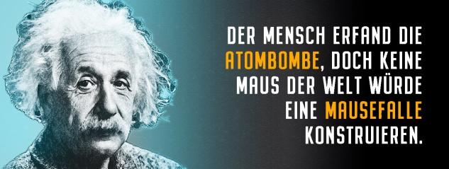 Blechschild Einstein: Der Mensch erfand die Atombombe Metallschild Wanddeko 27x10 cm tin sign
