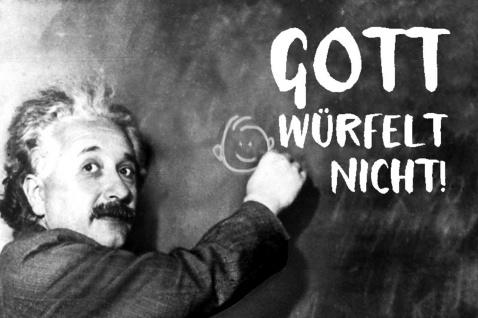 Blechschild Spruch Gott würfelt nicht! Einstein Metallschild Wanddeko 20x30 cm tin sign