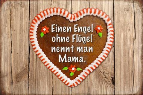 Blechschild Spruch Engel Flügel Mama Herz Metallschild Wanddeko 20x30 cm tin sign