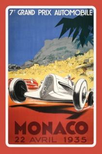 Nostalgie: Grand Prix Automobile Monaco 1935 Blechschild 20x30 cm
