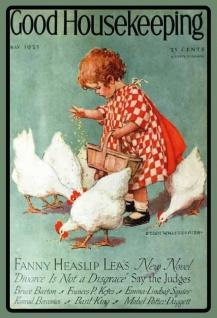 Good Houskeeping 1925 mädchen mit hühner blechschild