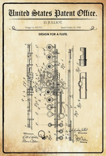 US Patent Office - Design for a flute - Entwurf für einen Flöte - Juilliot - 1908 - Design No 901913 - Blechschild