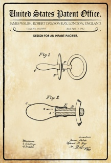 US Patent Office - Design for an Infant Pacifier - Entwurf für ein Schnuller - Walsh, Kay, England, 1912 - Design No 1.023.693 - Blechschild