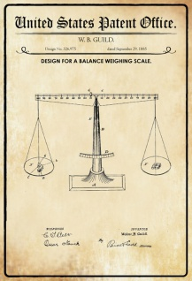 US Patent Office - Design for A Balance Weighing Machine - Entwurf für eine Waage - Guild, 1885 - Design No 326.975 - Blechschild