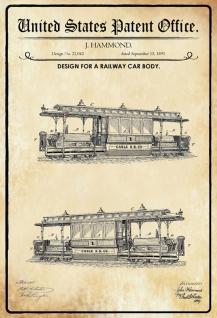 Blechschild Patent Entwurf für Eisenbahnwagen Metallschild Wanddeko 20x30 cm tin sign