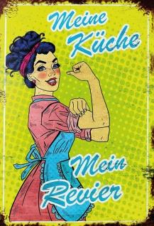 Retro: Meine Küche - Mein Revier Metallschild Wanddeko 20x30 tin sign