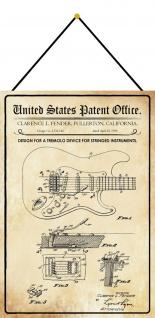 Blechschild Patent Entwurf für Tremolo-Streichinstrumente Deko 20 x 30 m.Kordel