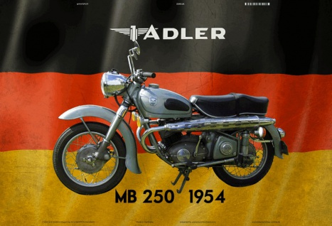Adler M250 1954 Motorrad Deutschland blechschild