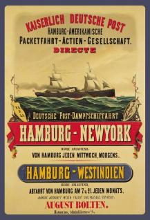 Blechschild Nostalgie Dampfschiff Hamburg NY Metallschild Wanddeko 20x30 cm tin sign
