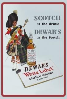 Scotch Whisky Dewars White Label schotte mit rock kilt alkohol blechschild