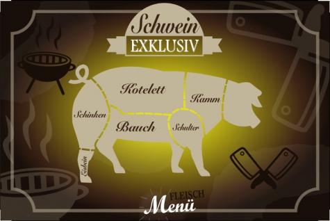 """Metzgeri Fleischschnitte """" Schwein Exclusiv"""" Blechschild, fleischeri, tafel, kotelett, kamm, schulter, bauch, eisbein, schinken - Vorschau"""