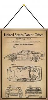 Blechschild Patent Entwurf italienisches Fahrzeug Auto 1 Deko 20 x 30 m.Kordel