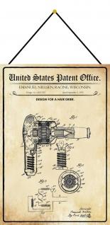 Blechschild Patent Entwurf für ein Haartrockner Metallschild 20 x 30 m.Kordel