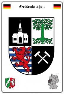 Blechschild Stadt Gelsenkirchen Wappen Straßen Metallschild Wanddeko 20x30 cm tin sign