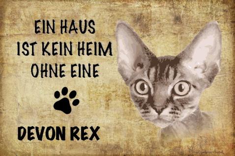 Katze: Ein Haus ist kein Heim ohne eine Devon Rex Blechschild 20x30 cm