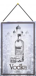 Blechschild Vodka 1925 lange Flasche Metallschild Deko 20x30 mit Kordel