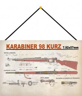 Blechschild Karabiner 98 Kurz Anleitung Metallschild Wanddeko 20x30 mit Kordel