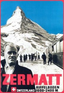 Blechschild Zermatt Riffelboden 1600-2400 m Metallschild 20x30 cm Deko tin sign