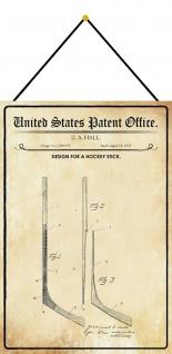 Blechschild Patent Entwurf für einen Hockeyschläger Deko 20 x 30 m.Kordel