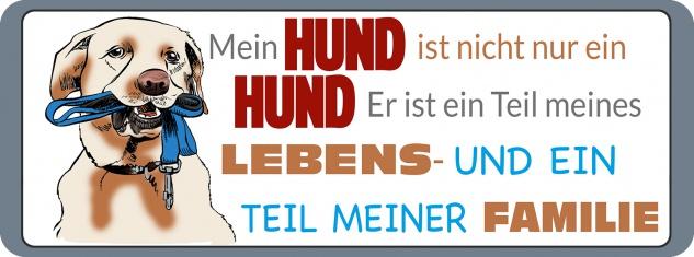 Blechschild Spruch Hund Teil meiner Familie Metallschild 27x10 cm Wanddeko tin sign