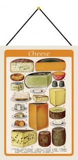 Blechschild Nostalgie Cheese Käse Typen Metallschild Wanddeko 20x30 mit Kordel